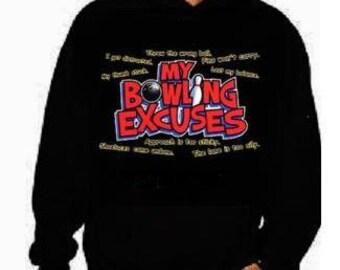 Hoodie: my bowling excuses unisex mens womens  hoodies Funniest Humorous designs hoodie graphic hooded hoody sweater shirt