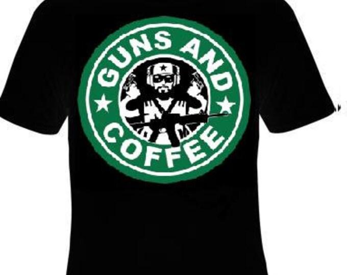 funny cool Unisex T-Shirt : guns and coffee  tee T shirt
