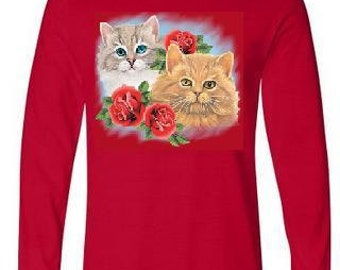Tshirts: long sleeve Tshirts two cats with three roses screen printed cool sleeved animals shirt cat