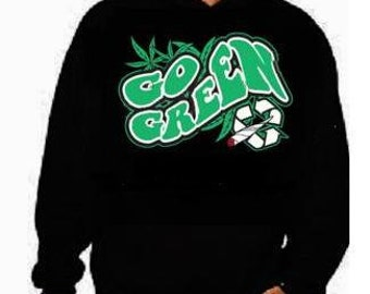 Hoodie unisex : go green  hoodies Funniest Humorous designs graphic hooded hoody sweater shirt