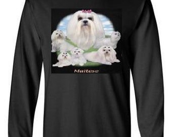 long sleeve MALTESE - LAWN DOG Tshirts  screen printed  longsleeved animals shirt cute