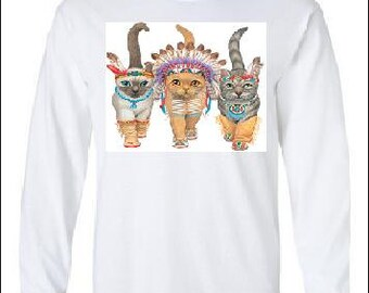 T-shirts  cats indians Long sleeve shirt  Cool Funny Humorous long-sleeved T Shirt design sleeves