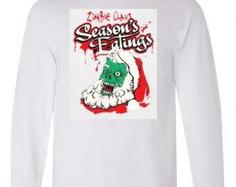 Tshirts:santa zombies unisex Long sleeved shirts Cool Funny long-sleeve T Shirt  design sleeves