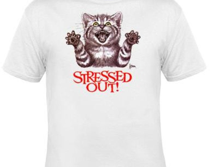 TShirts:  Stressed Out Cat Image Kitten Cool Funny Humor TShirts Tees,