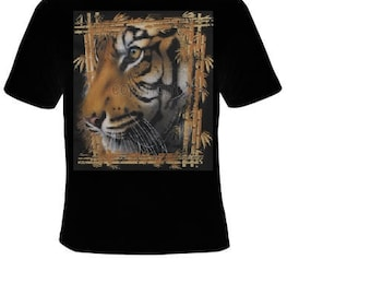 tiger bamboo frame animal zoo T-shirts cool tshirt tigers teez