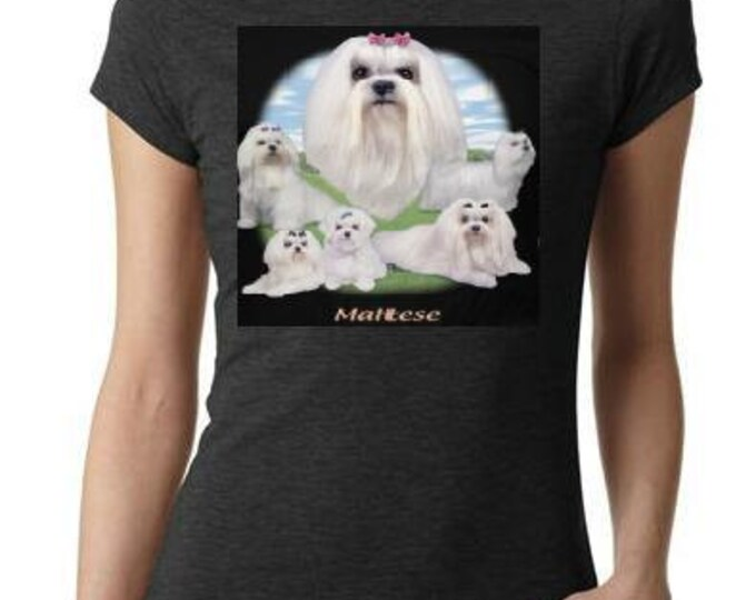 ladies women tops shirt  MALTESE - LAWN DOG screen printed cool t shirt t dog animals puppies