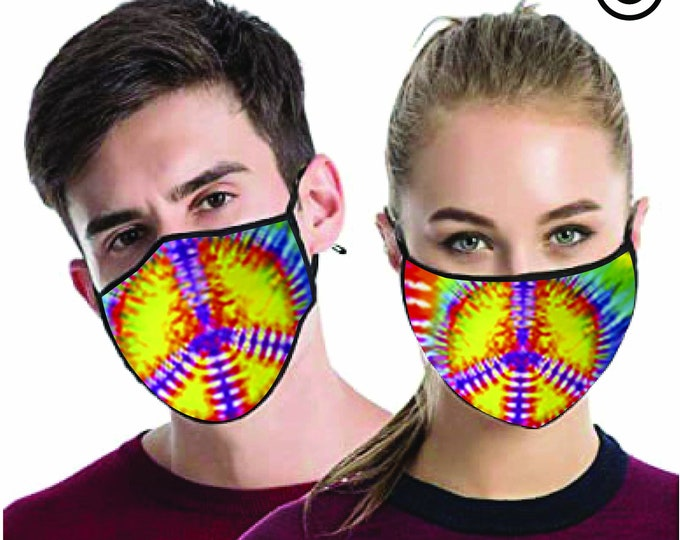 Peace Swirl dye  FACE MASK - match Face MASK couple | Matching Couples Face masks - 2 pcs