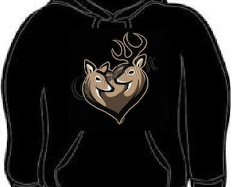 Hoodie: deer couple together forever love hoodies sweat shirt unisex cool couples matching