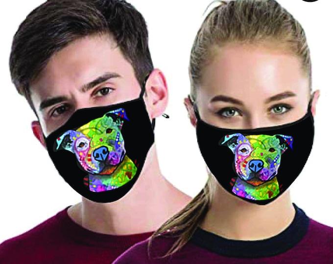pitbull Dog FACE MASK Smiley | match Face MASK couple | Matching Couples Face masks - 2 pcs