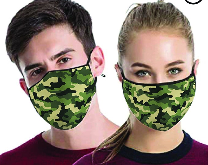 Green Camouflage cool FACE MASK , match Face MASK couple | Matching Couples Face masks - 2 pcs