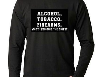 Long sleeve tshirts alcohol tobacco firearms Cool Funny Humorous clothes long sleeves Shirt Tees T-Shirt designs graphic