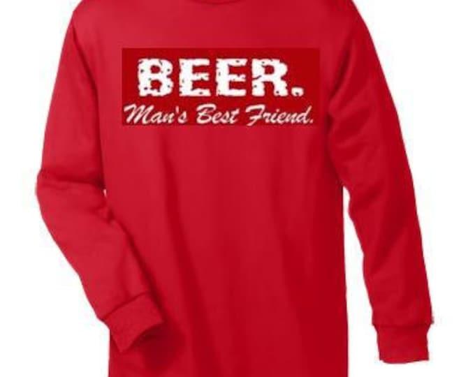 T-shirts: beer mans best friend Long sleeve shirt  Cool Funny long-sleeved T Shirt design sleeves