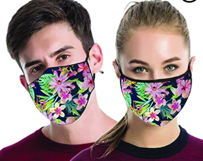 Tropical Flowers  cool FACE MASK , match Face MASK couple | Matching Couples Face masks - 2 pcs