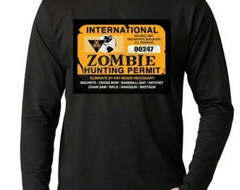 T-shirts:  zombie hunting permit international Long sleeve shirt  Cool Funny long-sleeved T Shirt design sleeves