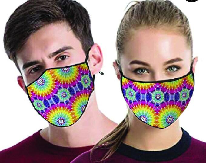 Tie Dye Circles  FACE MASK - match Face MASK couple | Matching Couples Face masks - 2 pcs