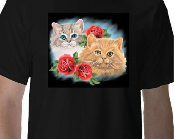 Tshirts two cats with three roses screen printed cool funny Humorous clothes T Shirts Tees, Tee T-Shirt designs graphic
