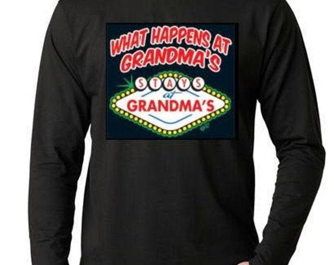 T-shirts:what happens at grandmas Long sleeve shirt  Cool Funny Humorous long-sleeved T Shirt design sleeves