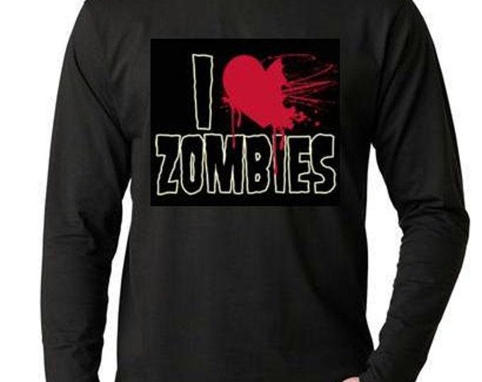 I Love Zombies  Long sleeve shirt  Cool Funny Humorous long sleeved T Shirt design sleeves tee