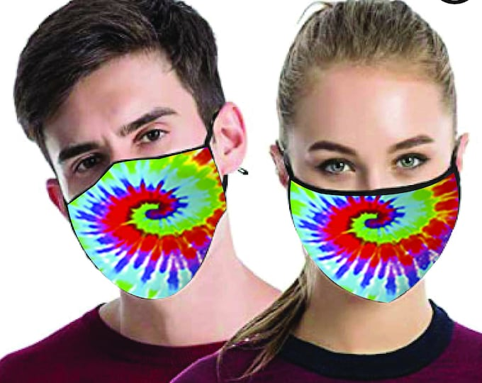 Tie Dye Swirl cool FACE MASK - match Face MASK couple | Matching Couples Face masks - 2 pcs