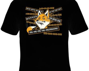 fox says ring dind ding dong screen print Cool Funny Humorous clothes T Shirts  T-Shirt designs graphic