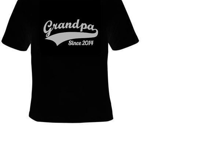 Tshirts: grandpa  tail since any 2014 tee T shirt (silver grey  ink ) grandfather gift