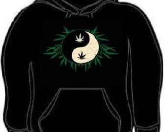 Hoodie:  Yin Yang With Leaves logo Hooded Sweatshirts hoodies shirt clothes cool