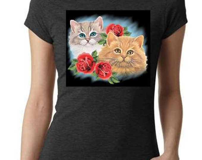 tshirts: ladies women tops  shirts two cats with three roses screen printed cool  animals shirt cat