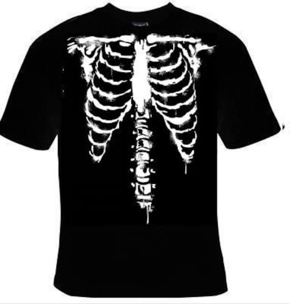 SKELETON RIB CAGE BODY BONES GLOW IN THE DARK PRINTED TSHIRT
