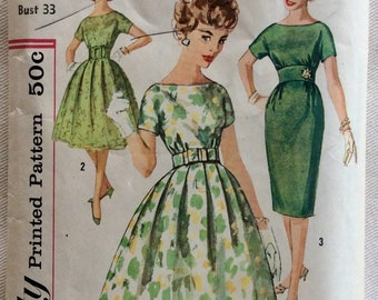 Simplicity Pattern 2929 - 50s Day/Eve Dresses-Wiggle/Slim Fit or Full Pleated Skirt - Bateau Neckline, Kimono Sleeves & Belt-Size 13 Bust 33