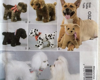 McCall's Pattern 6620 - Linda Carr design 6 Plush Stuffed Dogs - 5 Small & 1 Large - UNCUT