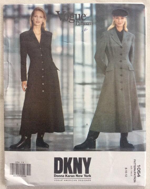 Amerikanischen Schnittmuster 1054 - DKNY Donna Karan Prinzessin Naht Maxi Länge Mantel-Kleid - Größen 10.08.12 ungeschnitten