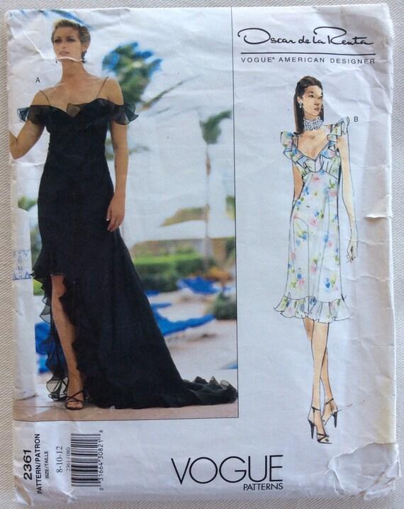Vogue Pattern 2361 Oscar De La Renta Formal Ruffled High Low Etsy
