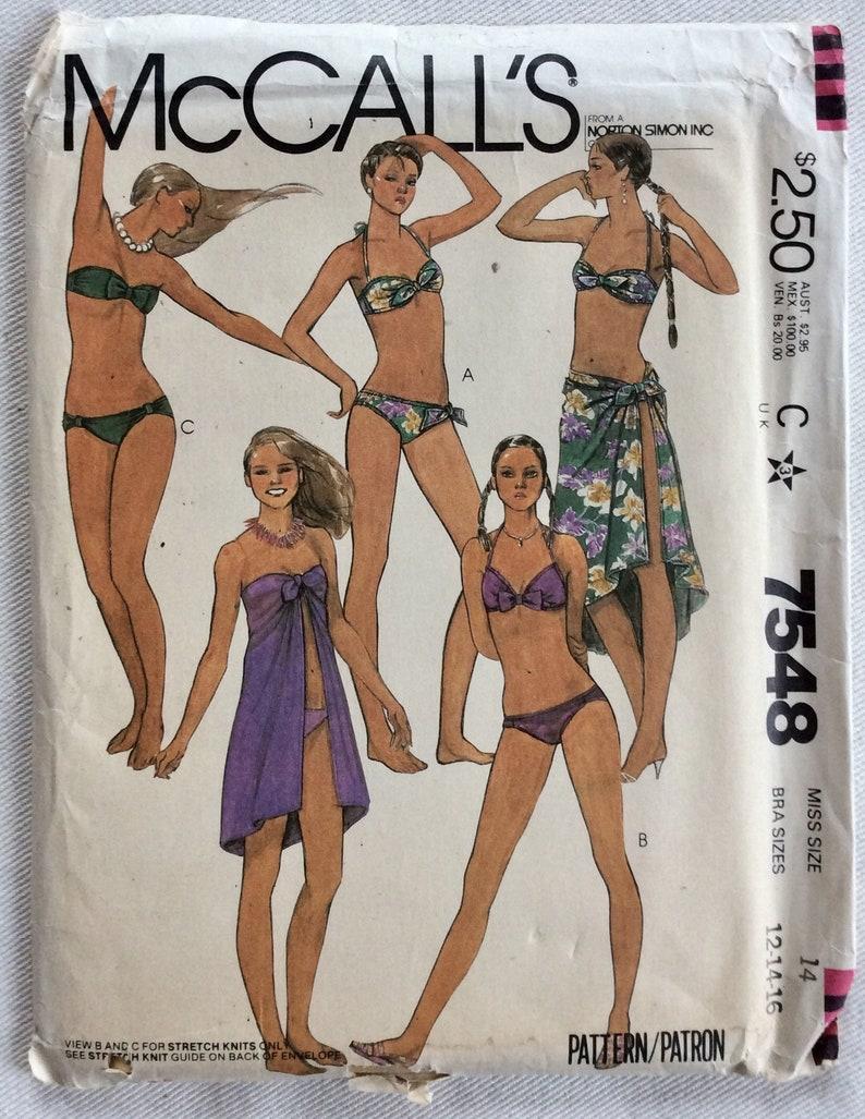 Bowamp; 2 Wbands Sarongcoverupwrap Or Size Bra Tie Piece 16 Bandeau BackOptStrapsBottoms 7548 Mccall'pattern Bikini Hook 12 14 TKF1Jlc3
