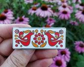 Friendship Bowl Pattern Brooch Enamel Pin Inspired by Friendship bowls unisex for hat bag purse blouse denim jacket red birds