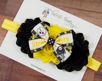 Pittsburgh Steelers Headband. Steelers Headband. Steelers Flower Headband. Shabby Flower Headband.