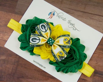 Green Bay Packers Headband. Packers Headband. Packers Flower Headband. Shabby Flower Headband.