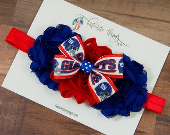 New York Giants Headband. Giants Headband. Giants Flower Headband. Shabby Flower Headband.