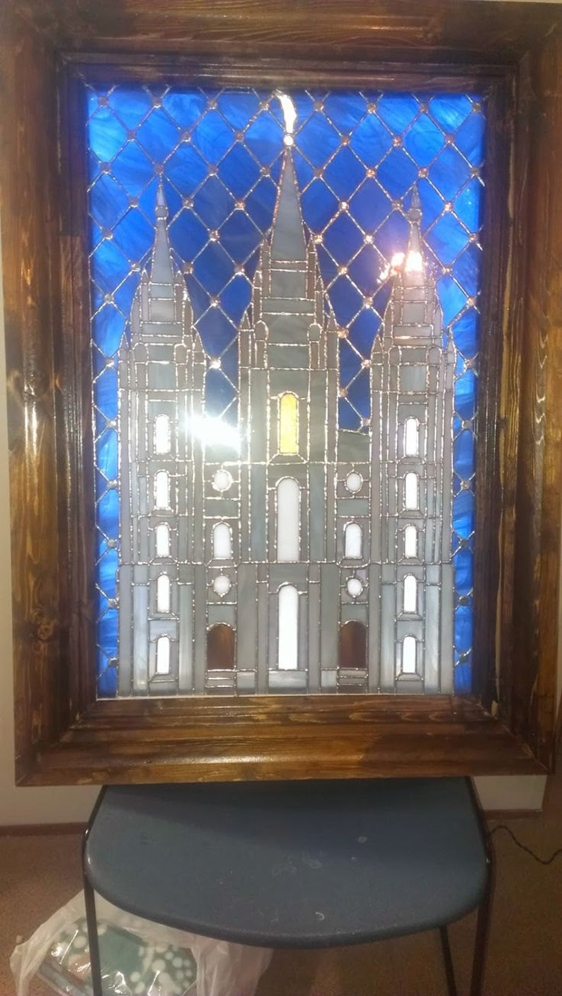 Stained Glass picture of the Salt Lake Temple with picture image 0
