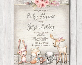 Woodland Baby Shower Invitation, Rustic Forest Baby Shower Invitation, Girl Invite, Wood, Deer, Flowers Invitation, Printable Invitation 5x7