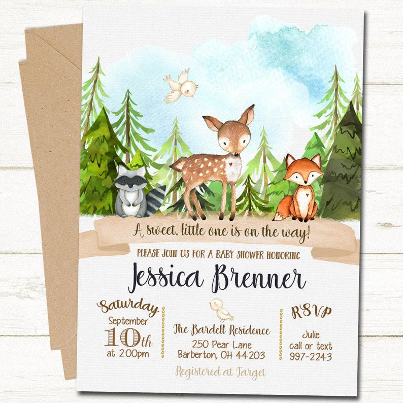 992560473 Woodland Baby Shower Invitation Rustic Forest Baby Shower
