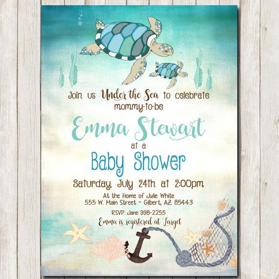 Sea Turtle Baby Shower Invitation Rustic Baby Shower Etsy