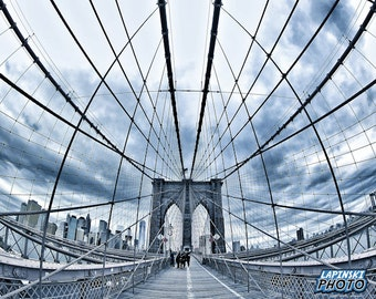 "Brooklyn Bridge Photograph, New York City Photo, Color Photography, Wall Art, Art Print, NYC, ""Into The Web"""