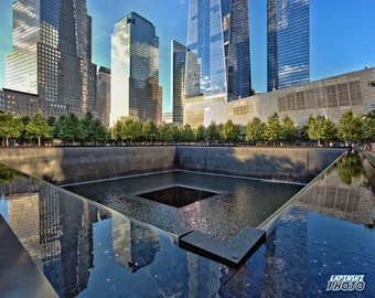 "WTC Memorial Photograph, Color Photography, NYC Photo, Wall Art, Art Print, New York , Reflecting Pool, ""Quiet Reflection"""