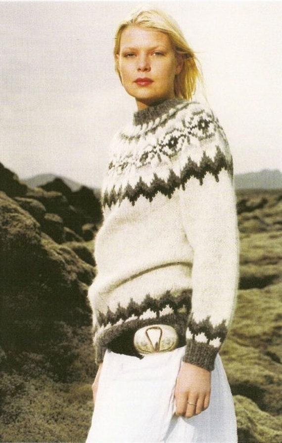 Sweater Hand Knitted From Pure Icelandic Wool Alafoss Etsy