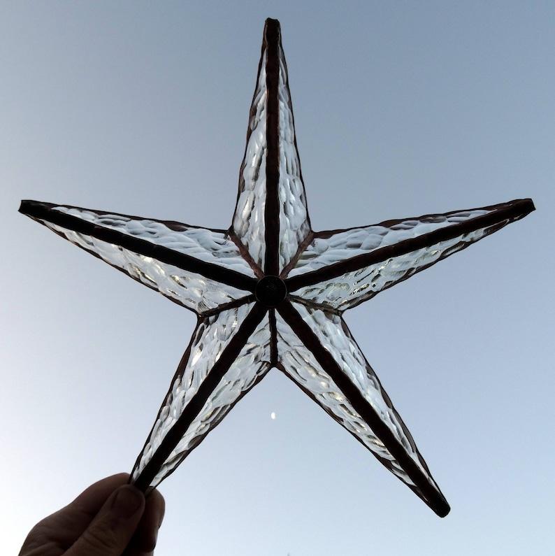 BARN STAR stained glass 3D pentagram