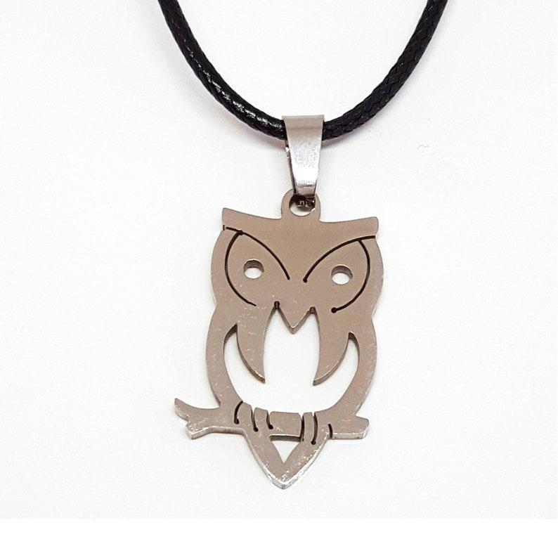 Sleek Silver Owl Necklace Pendant image 0