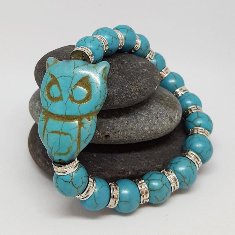 Turquoise Owl Bracelet image 0