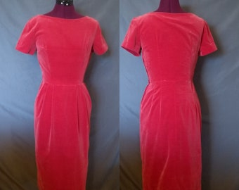 31d433aa9c Vintage 1950s Red Velvet Dress