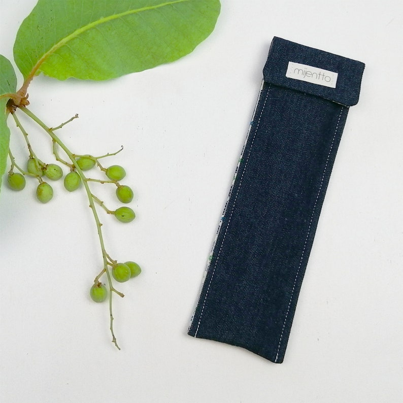 Denim Cutlery Pouch with Bamboo Cutlery Stainless Steel Straw and Brush