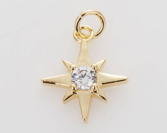 Star Cubic Pendant Polished Gold -Plated- 2 Pieces[TT0099-PG]
